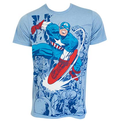 CAPTAIN AMERICA Super Smash Fighting Blue Tee Shirt
