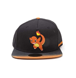 POKEMON Charmander Character Rubber Patch Snapback Baseball Cap with Dip Dye Brim, Multi-colour