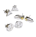 Harry Potter Earrings 3-Pack Snitch/Deathly Hallows/Platform 9 3/4 (silver plated)
