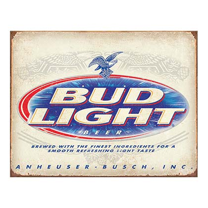 BUD LIGHT Vintage Tin Sign