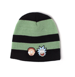 RICK AND MORTY Faces Striped Cuffless Beanie, Black/Green