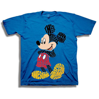 Mickey Mouse Typographic Art Youth Blue Tee Shirt
