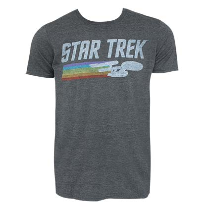 STAR TREK Enterprise Rainbow Logo Grey Tee Shirt