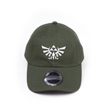 NINTENDO Legend of Zelda Embroidered Tri-force Crest Stone Washed Denim Dad Cap, Green