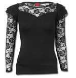 Gothic Elegance - Lace Layered Long Sleeve Top Black