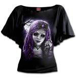 Goth Doll - Boat Neck Bat Sleeve Top Black Plus Size