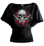 Death Pistol - Boat Neck Bat Sleeve Top Black Plus Size
