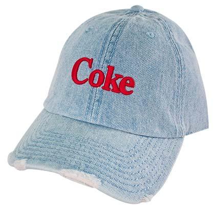8d68997715d54 COCA-COLA Coke Distressed Light Blue Embroidered Denim Adjustable Hat