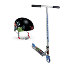 MARVEL COMICS Avengers Assemble Kid's Stunt Scooter and Protection Helmet, Multi-colour
