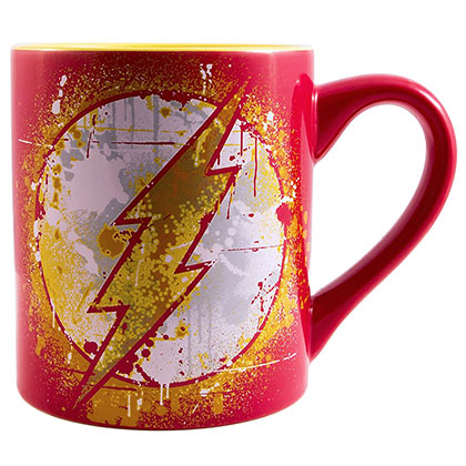The FLASH Bolt Logo Paint Splatter 14oz Red Mug