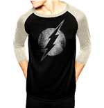 Dc Originals - Flash Logo Mono Distressed - Unisex Baseball Shirt Black