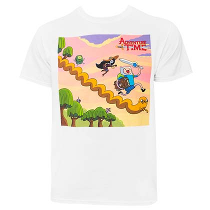 ADVENTURE TIME Running Characters Men's White T-Shirt