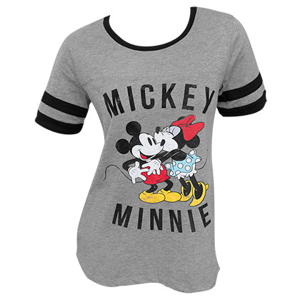 Mickey Minnie Mouse Kissing Women's Grey Ringer T-Shirt