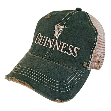GUINNESS Faded Frayed Retro Brand Men's Green Trucker Hat
