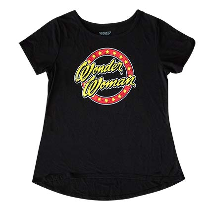 WONDER WOMAN Script Glitter Logo Girls 7-16 Youth Black TShirt