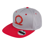 GOD OF WAR Embroidered Serpent Logo Snapback Baseball Cap, Grey/Red