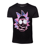 RICK AND MORTY Men's Neon Rick Face T-Shirt, Large, Black