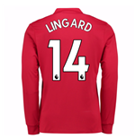 2017-2018 Man United Long Sleeve Home Shirt (Lingard 14)