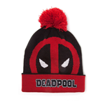 MARVEL COMICS Deadpool Face Roll-up Cuffed Beanie with Pompom, Red