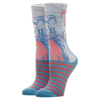 Harley Quinn Neon Faded Juniors Crew Socks