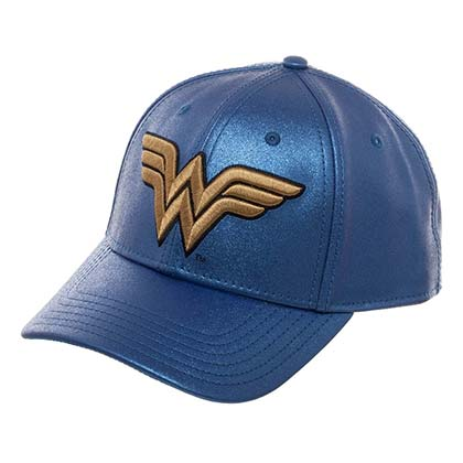 WONDER WOMAN Logo Blue Glitter Snapback Hat
