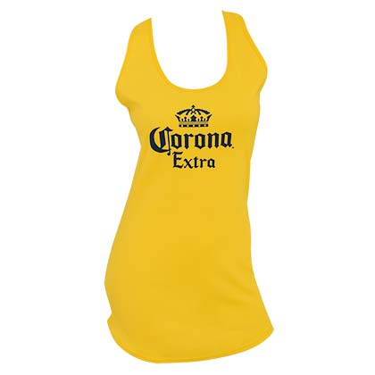 CORONA EXTRA Logo Women's Long Yellow Tank Top Shirt