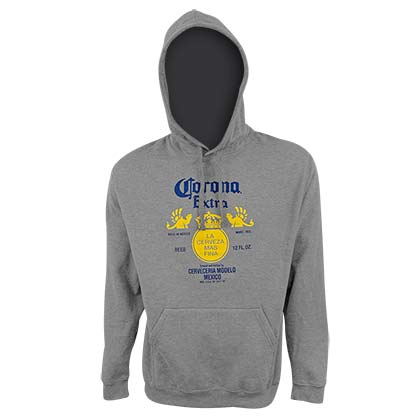 CORONA EXTRA Logo Men's Athletic Gray Hoodie Sweatshirt
