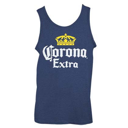 CORONA EXTRA Logo Heather Navy Blue Men's Tank Top