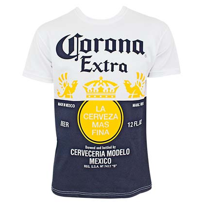 CORONA EXTRA Label Design Men's White Tee Shirt