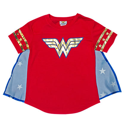 WONDER WOMAN Caped Youth Girls Costume Red T-Shirt