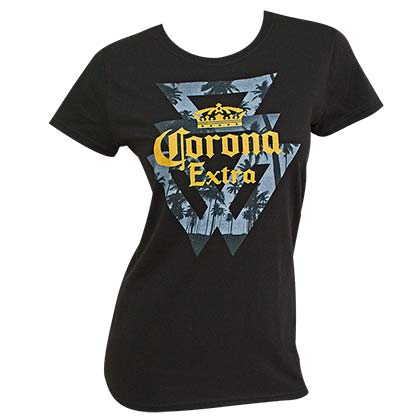 CORONA EXTRA Triangles Palms Logo Women's Tshirt