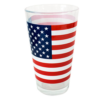 PATRIOTIC American Flag Stars and Stripes Pint Glass
