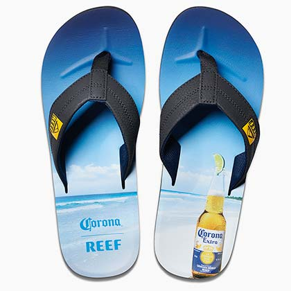 CORONA EXTRA Beach Bottle Opener REEF Brand Men's Flip Flops Sandals