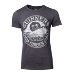 GUINNESS Male Heritage Intaglio Raised Printed T-Shirt, Large, Grey
