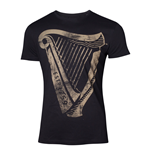 GUINNESS Male Distressed Harp Logo T-Shirt, Small, Black