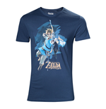 NINTENDO Legendo of Zelda: Breath of the Wild Male Link with Bow Box Art Cover T-Shirt, Small, Blue