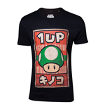 NINTENDO Super Mario Bros. Male Propaganda 1UP Mushroom Poster T-Shirt, Large, Black