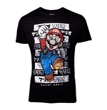 NINTENDO Super Mario Bros. Male Mario Core Kanto T-Shirt, Medium, Black
