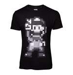 NINTENDO Super Mario Bros. Male 16-bit Mario Peace T-Shirt, Medium, Black