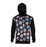 RICK AND MORTY Male Character Faces Pattern Sublimation Print Full Length Zipped Hoodie, Large, Black