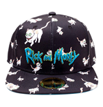 RICK AND MORTY Embroidered Logo and Cats All-over Print Snapback Baseball Cap, Black/Blue