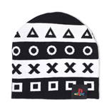 SONY Playstation Symbols Cuffless Beanie, One Size, Black/White