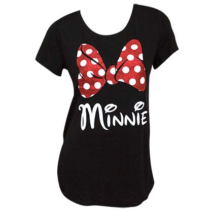 Minnie Mouse Glitter Bow Women's Black T-Shirt