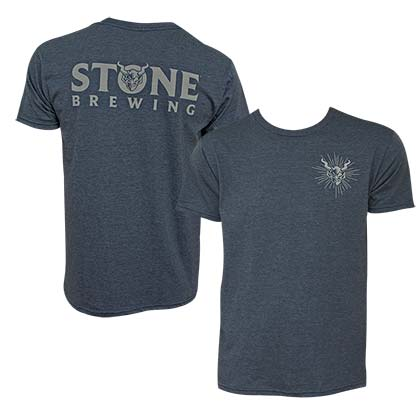 Stone Brewing Devil Logo Heather Blue Men's Tee Shirt
