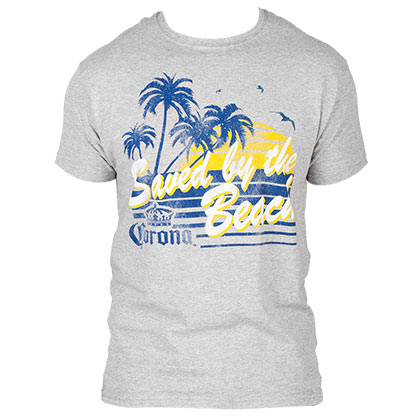 Corona Saved By The Beach Men's Grey TShirt