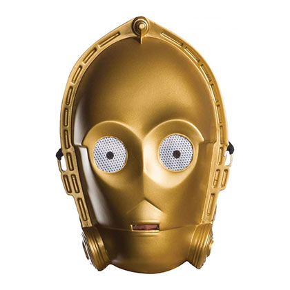 STAR WARS C3PO Vacuform Adult Halloween Costume Half Mask