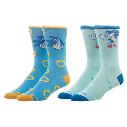 SONIC THE HEDGEHOG Blue Men's Crew Sock Set Of 2 Pairs
