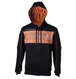 ATARI Men's 2600 Logo Full Length Zipper Hoodie, Large, Black/Orange