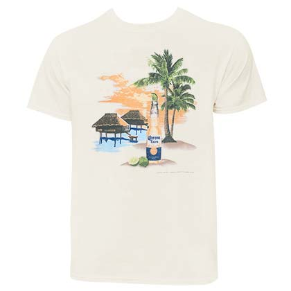 Corona Beach Scene Men's Ivory Off-White T-Shirt