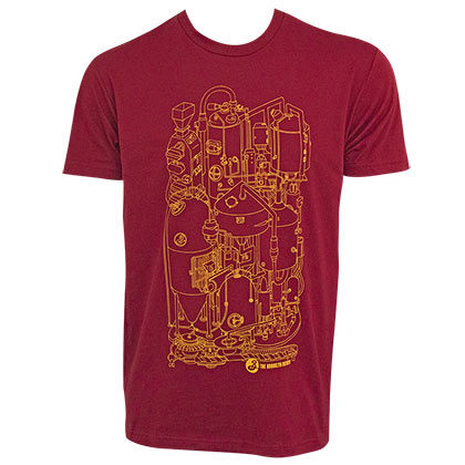 BROOKLYN BREWERY Illustration Men's Red Tee Shirt